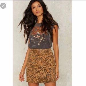 Nasty Gal Suede Leopard Mini Skirt